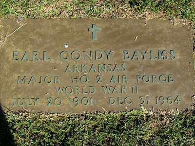 BAYLISS (VETERAN WWII), EARL GONDY - Saline County, Arkansas   EARL GONDY BAYLISS (VETERAN WWII) - Arkansas Gravestone Photos