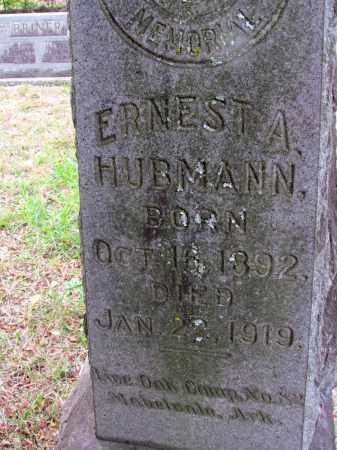 HUBMANN, ERNEST A (CLOSE UP) - Saline County, Arkansas   ERNEST A (CLOSE UP) HUBMANN - Arkansas Gravestone Photos