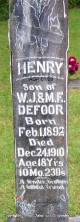DEFOOR, HENRY - Scott County, Arkansas | HENRY DEFOOR - Arkansas Gravestone Photos