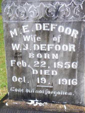 DEFOOR, M  E - Scott County, Arkansas | M  E DEFOOR - Arkansas Gravestone Photos