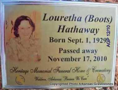 HATHAWAY, LOURETHA (BOOTS) - Scott County, Arkansas   LOURETHA (BOOTS) HATHAWAY - Arkansas Gravestone Photos