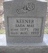 KEENER, SADA MAE - Scott County, Arkansas | SADA MAE KEENER - Arkansas Gravestone Photos