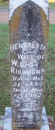 RICHMOND, HENRY ETTA - Scott County, Arkansas | HENRY ETTA RICHMOND - Arkansas Gravestone Photos