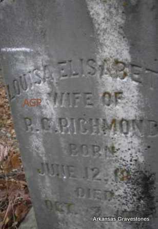 RICHMOND, LOUISA ELISABETH - Scott County, Arkansas   LOUISA ELISABETH RICHMOND - Arkansas Gravestone Photos