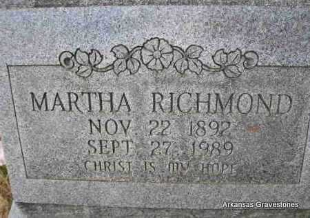 RICHMOND, MARTHA - Scott County, Arkansas | MARTHA RICHMOND - Arkansas Gravestone Photos