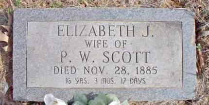SCOTT, ELIZABETH J - Scott County, Arkansas | ELIZABETH J SCOTT - Arkansas Gravestone Photos