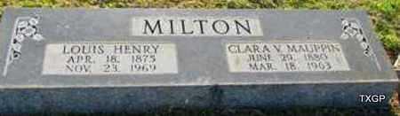 MILTON, LOUIS HENRY - St. Francis County, Arkansas | LOUIS HENRY MILTON - Arkansas Gravestone Photos