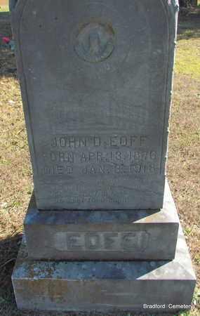 EOFF, JOHN D (CLOSE UP) - Van Buren County, Arkansas | JOHN D (CLOSE UP) EOFF - Arkansas Gravestone Photos