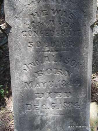 ALISON (VETERAN CSA), JOHN (CLOSEUP) - Washington County, Arkansas | JOHN (CLOSEUP) ALISON (VETERAN CSA) - Arkansas Gravestone Photos