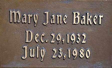BAKER, MARY JANE - Washington County, Arkansas | MARY JANE BAKER - Arkansas Gravestone Photos