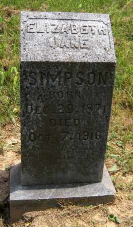 SIMPSON, ELIZABETH JANE - Washington County, Arkansas | ELIZABETH JANE SIMPSON - Arkansas Gravestone Photos