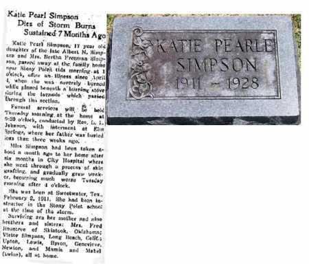SIMPSON, KATIE PEARL - Washington County, Arkansas   KATIE PEARL SIMPSON - Arkansas Gravestone Photos