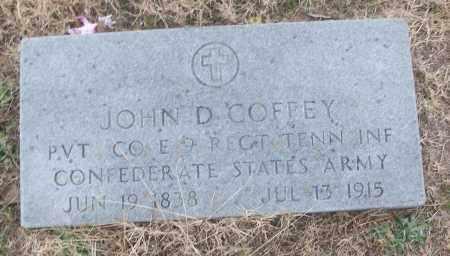 COFFEY (VETERAN CSA), JOHN D - White County, Arkansas | JOHN D COFFEY (VETERAN CSA) - Arkansas Gravestone Photos