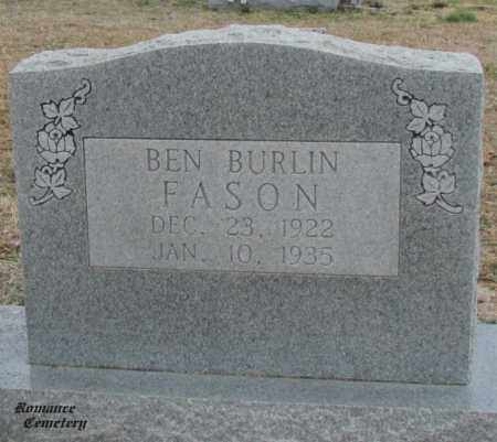 FASON, BEN BURLIN - White County, Arkansas | BEN BURLIN FASON - Arkansas Gravestone Photos