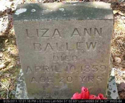 BALLEW, LIZA ANN - Yell County, Arkansas | LIZA ANN BALLEW - Arkansas Gravestone Photos