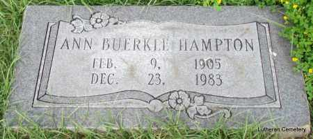 BUERKLE HAMPTON, ANN - Arkansas County, Arkansas | ANN BUERKLE HAMPTON - Arkansas Gravestone Photos