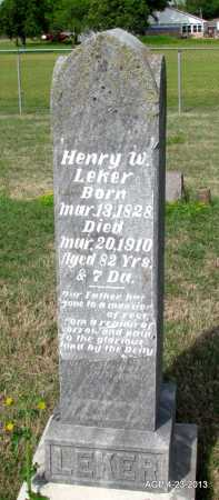 LEKER, HENRY W - Arkansas County, Arkansas | HENRY W LEKER - Arkansas Gravestone Photos