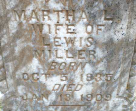 MILLER, MARTHA L (CLOSE UP) - Ashley County, Arkansas | MARTHA L (CLOSE UP) MILLER - Arkansas Gravestone Photos