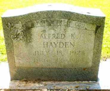 HAYDEN, ALFRED K - Ashley County, Arkansas   ALFRED K HAYDEN - Arkansas Gravestone Photos