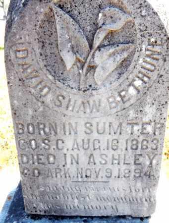 BETHUNE, DAVID SHAW (CLOSE UP) - Ashley County, Arkansas   DAVID SHAW (CLOSE UP) BETHUNE - Arkansas Gravestone Photos