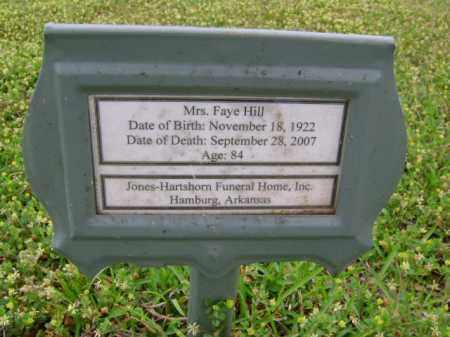 HILL, FAYE - Ashley County, Arkansas | FAYE HILL - Arkansas Gravestone Photos