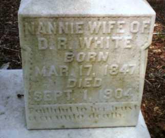 WHITE, NANNIE (CLOSE UP) - Ashley County, Arkansas   NANNIE (CLOSE UP) WHITE - Arkansas Gravestone Photos