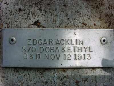 ACKLIN, EDGAR - Baxter County, Arkansas | EDGAR ACKLIN - Arkansas Gravestone Photos