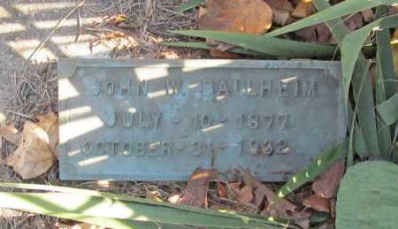 BALLHEIM, JOHN W - Benton County, Arkansas | JOHN W BALLHEIM - Arkansas Gravestone Photos