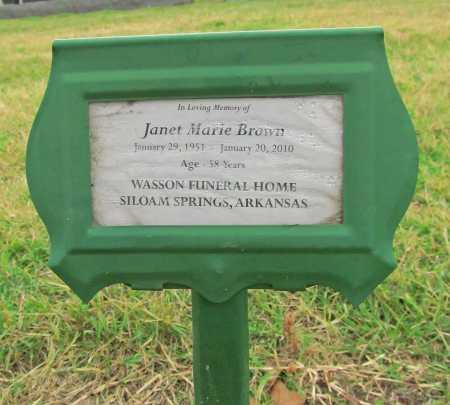 BROWN, JANET MARIE - Benton County, Arkansas   JANET MARIE BROWN - Arkansas Gravestone Photos