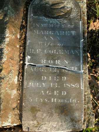 COLEMAN, MARGARET ANN - Boone County, Arkansas   MARGARET ANN COLEMAN - Arkansas Gravestone Photos
