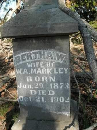 MARKLEY, BERTHA W. - Boone County, Arkansas | BERTHA W. MARKLEY - Arkansas Gravestone Photos