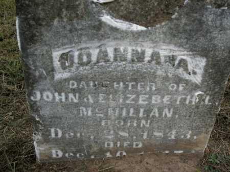 MCMILLAN, JOANNA A. - Boone County, Arkansas | JOANNA A. MCMILLAN - Arkansas Gravestone Photos