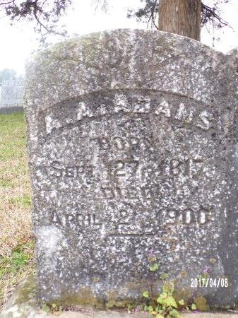 ADAMS, ABNER A (CLOSE UP) - Bradley County, Arkansas | ABNER A (CLOSE UP) ADAMS - Arkansas Gravestone Photos