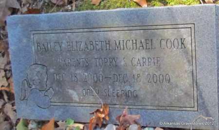 COOK, BAILEY ELIZABETH MICHAEL - Bradley County, Arkansas   BAILEY ELIZABETH MICHAEL COOK - Arkansas Gravestone Photos