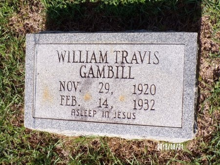 GAMBILL, WILLIAM TRAVIS - Bradley County, Arkansas | WILLIAM TRAVIS GAMBILL - Arkansas Gravestone Photos
