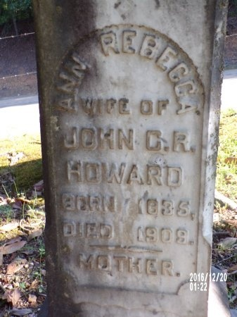 HOWARD, ANN REBECCA (CLOSE UP) - Bradley County, Arkansas   ANN REBECCA (CLOSE UP) HOWARD - Arkansas Gravestone Photos