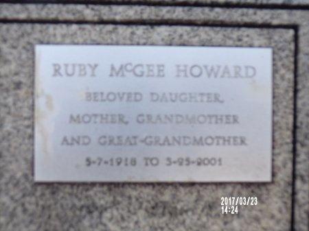 MCGEE HOWARD, RUBY - Bradley County, Arkansas | RUBY MCGEE HOWARD - Arkansas Gravestone Photos