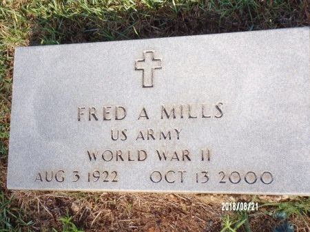 MILLS (VETERAN WWII), FRED A  - Bradley County, Arkansas   FRED A  MILLS (VETERAN WWII) - Arkansas Gravestone Photos
