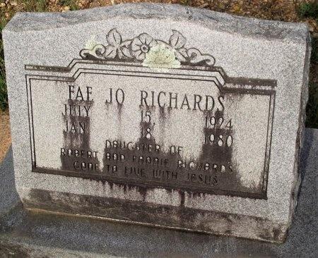 RICHARDS, FAE JO - Bradley County, Arkansas | FAE JO RICHARDS - Arkansas Gravestone Photos