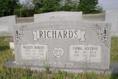 RICHARDS, WESLEY ROBERT - Bradley County, Arkansas | WESLEY ROBERT RICHARDS - Arkansas Gravestone Photos