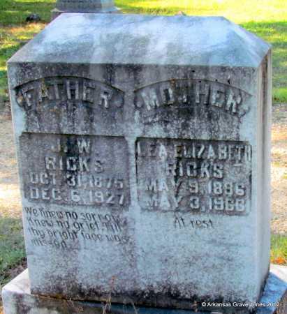 RICKS, J W - Bradley County, Arkansas | J W RICKS - Arkansas Gravestone Photos