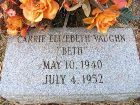 "VAUGHN, CARRIE ELIZABETH ""BETH"" - Bradley County, Arkansas | CARRIE ELIZABETH ""BETH"" VAUGHN - Arkansas Gravestone Photos"