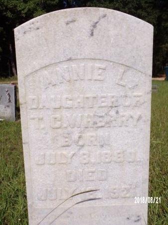 WHERRY, ANNIE L (CLOSE UP) - Bradley County, Arkansas | ANNIE L (CLOSE UP) WHERRY - Arkansas Gravestone Photos