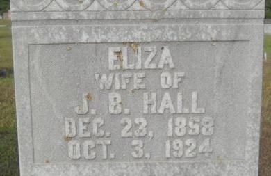 HALL, ELIZA (CLOSE UP) - Calhoun County, Arkansas | ELIZA (CLOSE UP) HALL - Arkansas Gravestone Photos