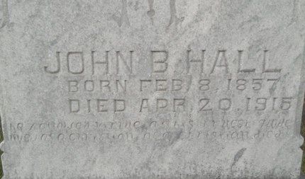 HALL, JOHN B (CLOSEUP) - Calhoun County, Arkansas | JOHN B (CLOSEUP) HALL - Arkansas Gravestone Photos