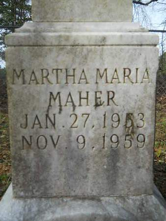 MAHER, MARTHA MARIA (CLOSE UP) - Calhoun County, Arkansas | MARTHA MARIA (CLOSE UP) MAHER - Arkansas Gravestone Photos
