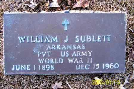 SUBLETT (VETERAN WWII), WILLIAM J - Clark County, Arkansas | WILLIAM J SUBLETT (VETERAN WWII) - Arkansas Gravestone Photos