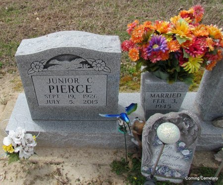 PIERCE, JUNIOR C (CLOSE UP) - Clay County, Arkansas | JUNIOR C (CLOSE UP) PIERCE - Arkansas Gravestone Photos