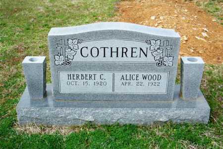 COTHREN, ALICE - Cleburne County, Arkansas | ALICE COTHREN - Arkansas Gravestone Photos