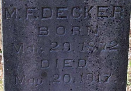 DECKER, M. F. (CLOSE UP) - Cleburne County, Arkansas | M. F. (CLOSE UP) DECKER - Arkansas Gravestone Photos